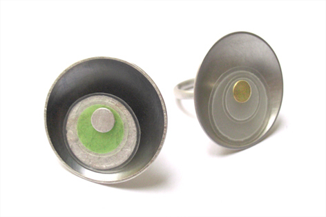 silver/paper/acrylic rings by Karolin Wolfarth  :  acrylic rings jewelry jewellery